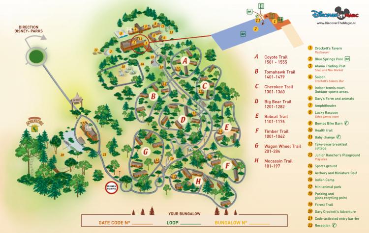 Davy Crockett Ranch plattegrond